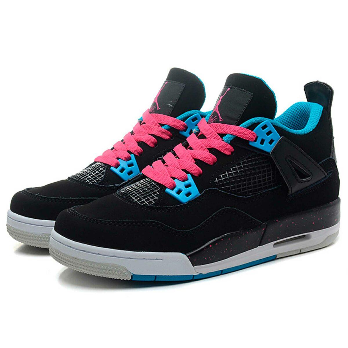 nike air jordan 4 retro black dynamic blue pink 487724-019 купить