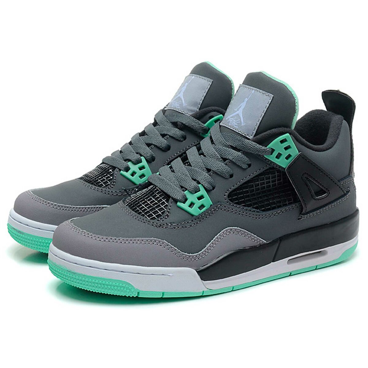 nike air jordan 4 retro dark grey green glow 308497-033 купить