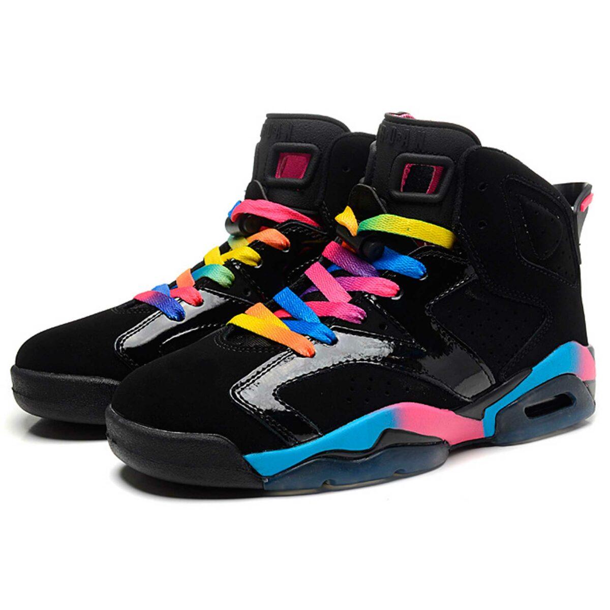 nike air jordan retro 6 GS black pink flash marina blue 543390-050 купить