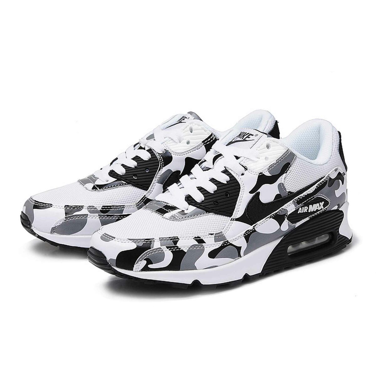 nike air max 90 white gray camouflage купить