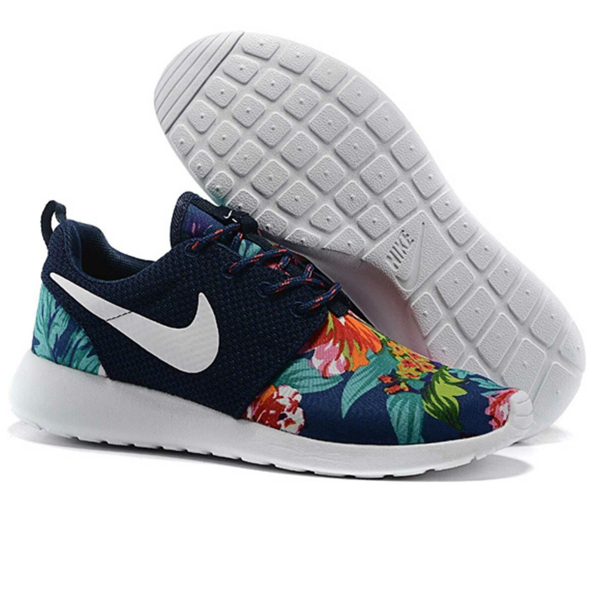 nike roshe run floral dark blue купить