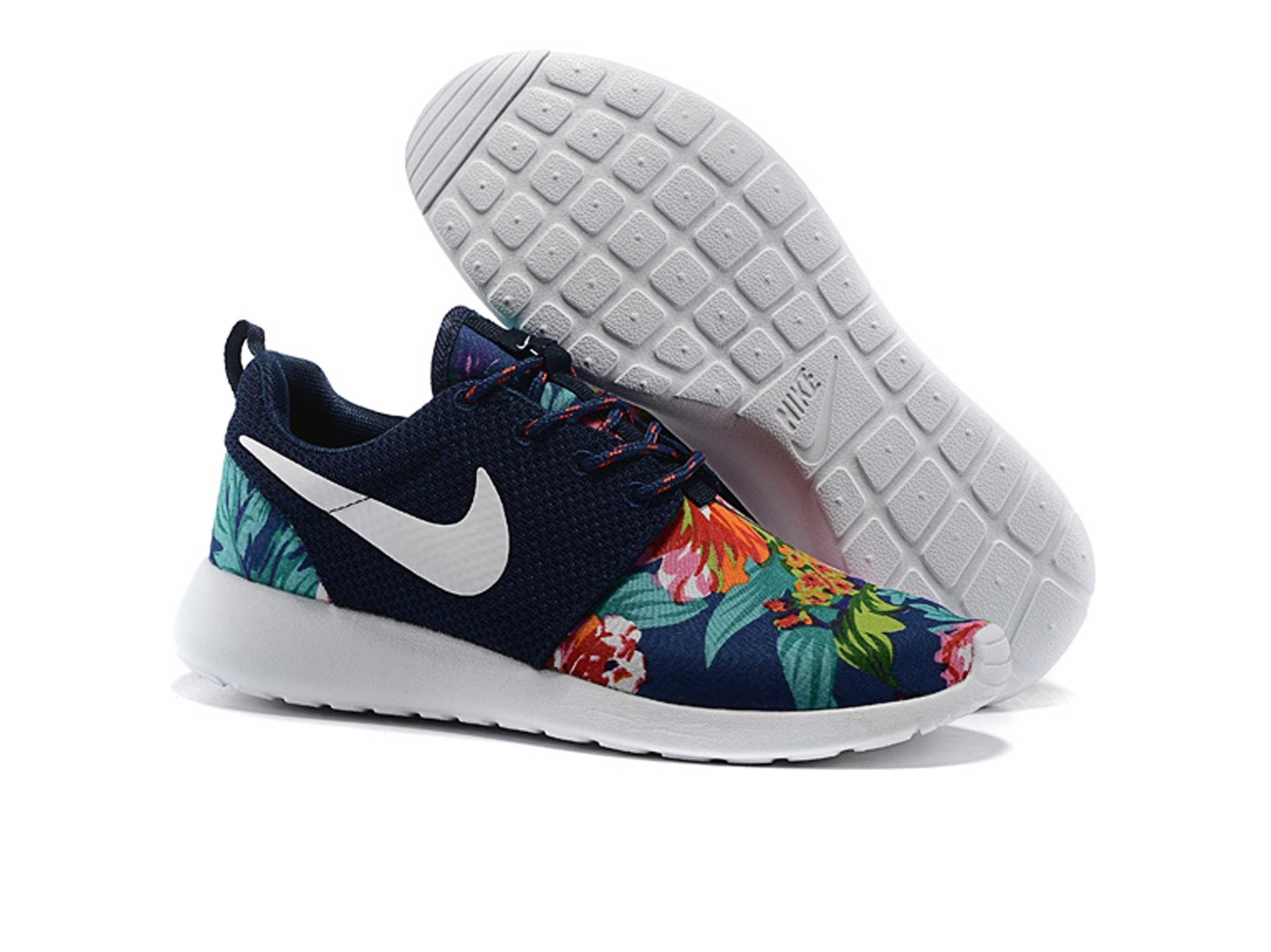 low priced 874b8 b54a2 nike roshe run floral dark blue