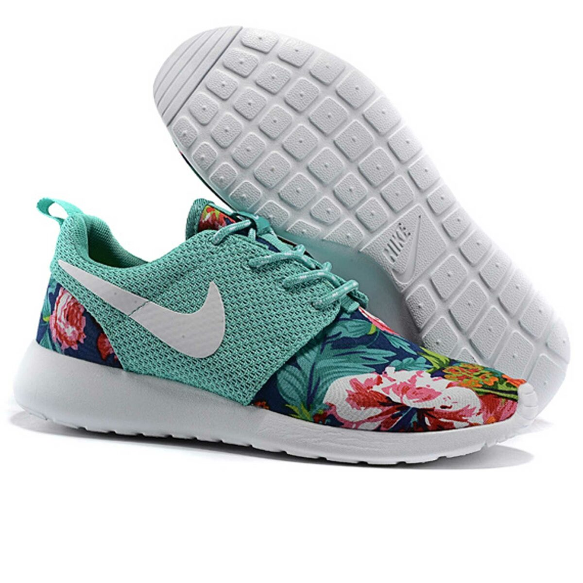 nike roshe run floral green купить