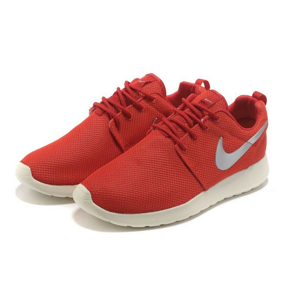 nike roshe run red silver