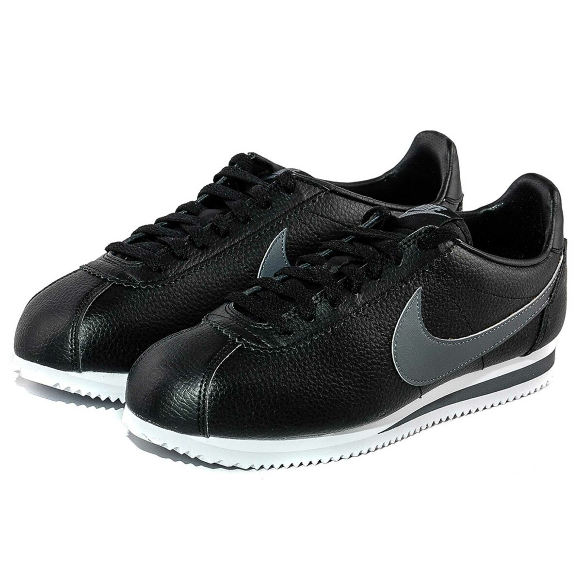 nike cortez leather triple black grey 749571_011 купить