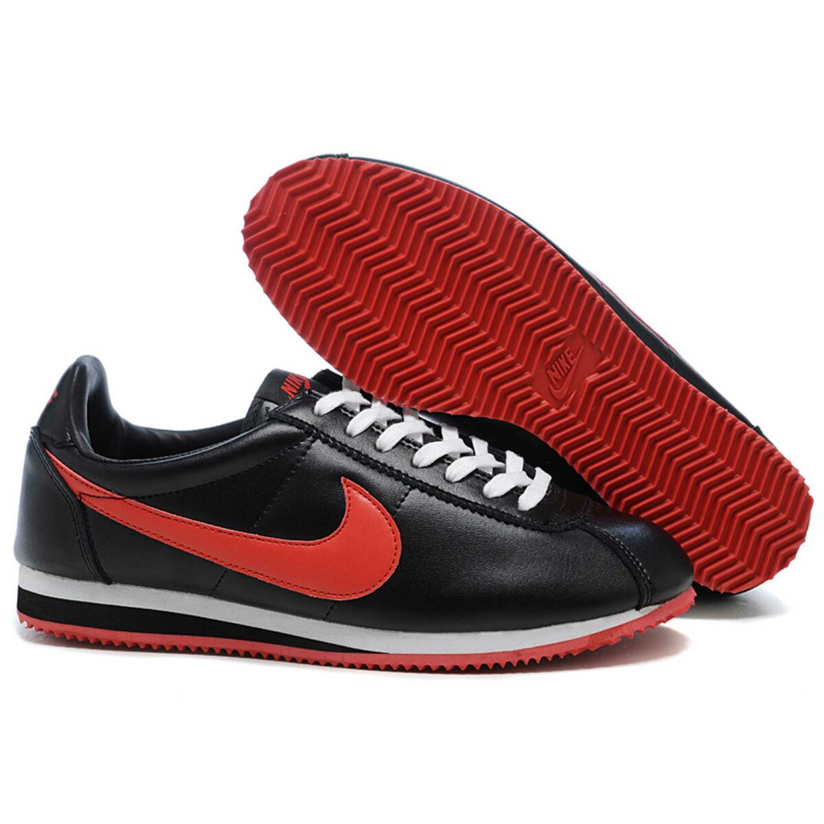 nike cortez leather black red white 349026_011 купить