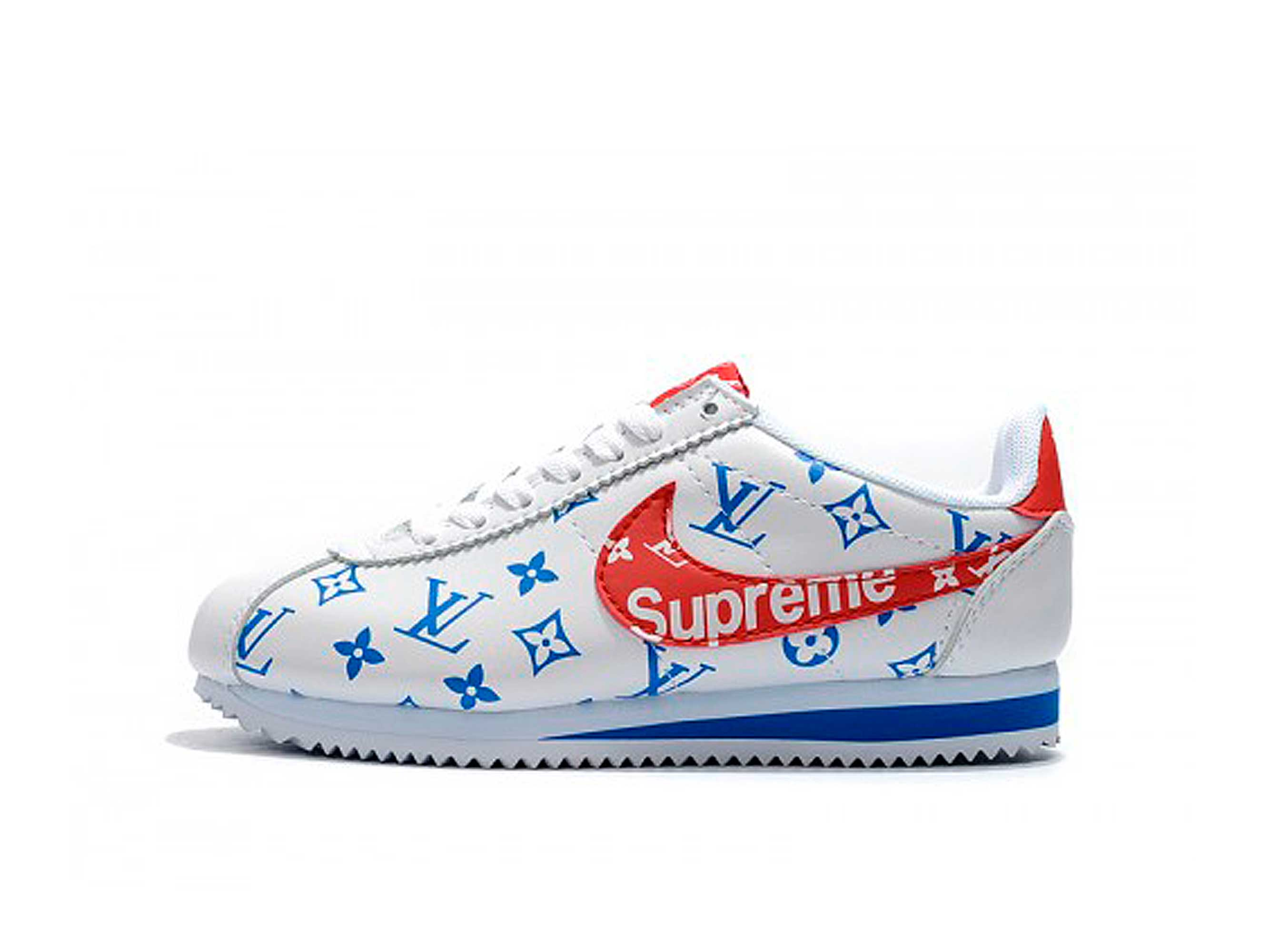 cheap for discount 720d1 cd29a nike cortez x supreme x louis vuitton white red