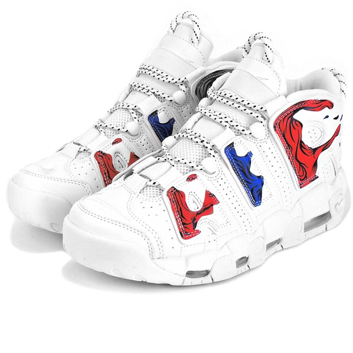 nike air more uptempo white red blue купить
