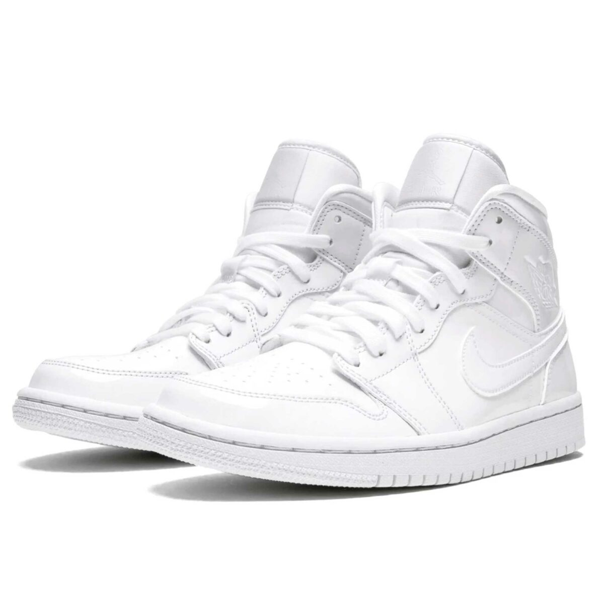 nike air jordan 1 mid triple white patent leather BQ6472_111 купить